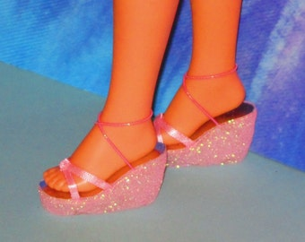 Cynthia doll shoes PINK WEDGES  for Cynthia and Quick Curl Casey dolls by Mattel