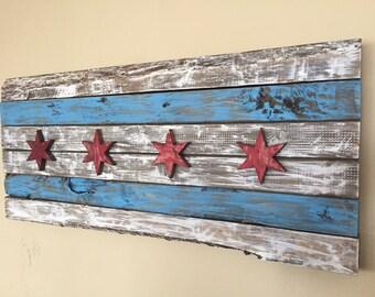Chicago Flag - Wood
