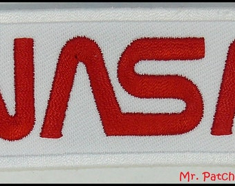NASA White/Red WORN Patch Space LOGO Embroidery Iron/Sew On Free Shipping
