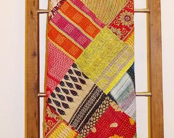 Kantha Quilt Vintage Cotton Queen Designer Bedcover Ethnic Patch Reversible Bedspread Handmade Bedsheet VG-7