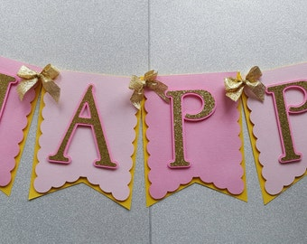 Pink and Gold Birthday Banner, Happy Birthday Banner, Pink and Gold Birthday, Pink and Gold, Glitter Birthday Banner, First Birthday