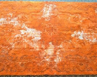 Turkish Handmade Vintage Carpet, Special Overdyed Vintage Turkish Rug - Free Shipping Orange Carpet