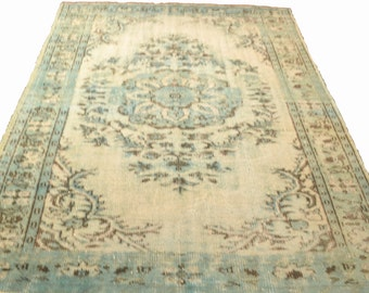 Turkish Handmade Vintage Rug, Special Overdyed Vintage Blue Turkish Carpet - Free Shipping