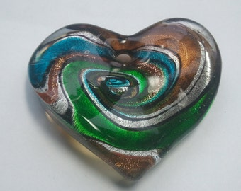 0347 - Glass Wave Heart Multi Color Swirl Pendant 40 mm x 35 mm, hole 4 mm,  Pretty Glass Wave Swirl Heart Pendant