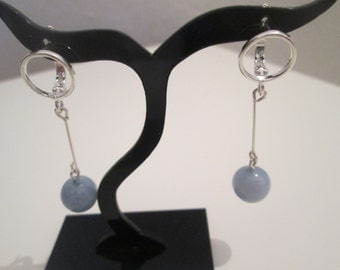 Sterling Silver 925 with aquamarine earrings