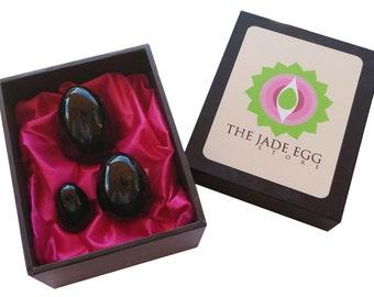 Black Obsidian Yoni Eggs  for Women Kegel Exercises; Set of 3 Predrlled with Instruction Guide