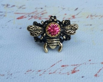 Queen Bee Ring, Bee Ring With Rhinestone, Adjustable Ring, Statement Ring