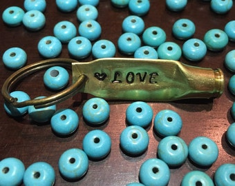 Personalized Stamped Bullet Keychain with Cursive Font by Sass & Brass
