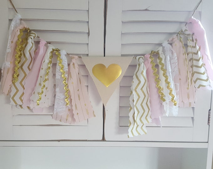 Blush Pink and Gold Banner, 1st Birthday party Decor Smash Cake Photo High Chair Banner Age on Canvas Flag Matching fabric tutu Room Decor
