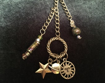 Celestial Planner Charm / Purse Charm / Zipper Pull