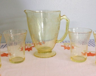 Florentine Pitcher and 4 Tumblers Set in Yellow