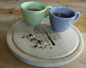 Pyrography. Beech Wood Serving Board/Teapot Stand. Beech Tree. Hand-Drawn