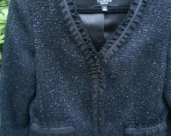 "Womens Black Wool Jacket, Size 6, Talbots, ""Chanel Style"""