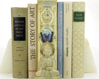 Beige Decorative Books; Vintage Books; Book Décor; Book Collection; Book Sets; Décor Books; Used Books; Old Books; Books by the Foot