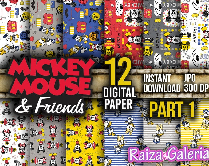 AWESOME Disney Mickey And Friends Digital Paper. PART 1 Instant Download - Scrapbooking - Mickey Minnie Printable Paper
