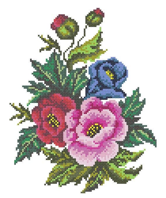 Embroidery poppy cross stitch machine
