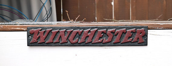 "Winchester Cast Iron Sign-13 1/2"" by 2 1/2"" Advertisement Plaque-Gun Ammo sign-Outdoor Sign-Gun Advertisement-Rifle Sign-Militaria-Hunting"