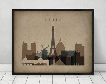 Paris print, Poster, Wall art, Vintage style print, Paris skyline, City poster, Typography art, Home Decor, Fine Art prints, ArtPrintsVicky