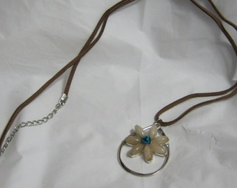 Necklace white blue flower on suede rope