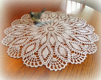 "White Crochet Doily--19"" Petals and Fans--Table Topper--Free Shipping"