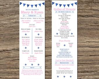 Pinwheel Wedding Program - Customizable