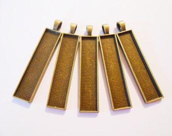 5 Bronze pendant trays Glass dome necklace trays Rectangular Pendant blanks 10x50 mm Rectangle pendant bezel Resin pendant base Jewelry