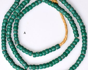 5mm Vintage Venetian Green Chevron Beads - African Trade Beads - 22-24 Inch Strands