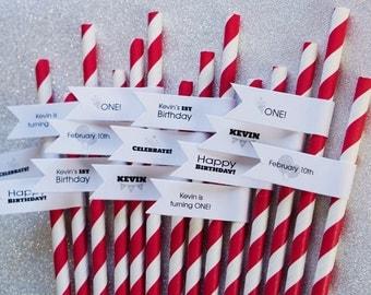 150 Birthday Party Straws / Birthday Party Paper Straws / Custom Straw Tags / Personalized Straws / Birthday Straws / Custom Straws