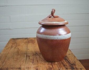 Salt Fired Ceramic Lidded Vessel