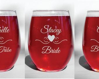 Deep Engraved Dishwasher Safe Bride Tribe Personalized Bachelorette Wedding Glasses - Bridesmaid Wine Glasses - Custom Wedding Glasses