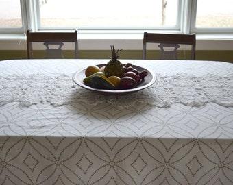 Vintage white crocheted table runner