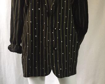 CRISCIONE Vintage 1980's Studded Blazer / Golden Stripes / Oversized Blazer / Padded Shoulders / Rhinestone studs