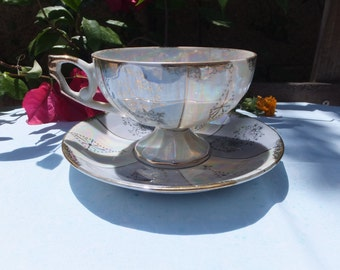 Vintage Japan gift gallery tea cup and saucer luster ware opalescent