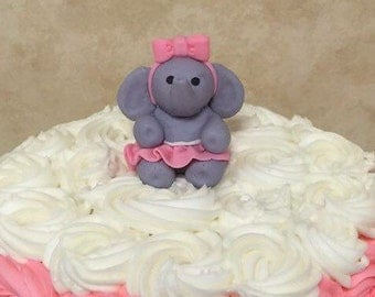 Girl Elephant Fondant Cake Topper