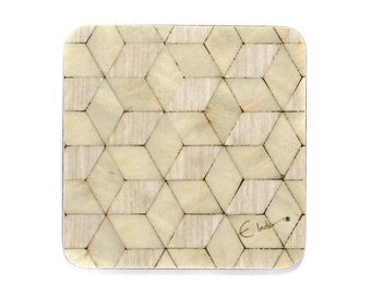 6 Ivory Coasters Mother of Pearl coasters Retro coasters Art Deco coaster  Melamine Coaster Retro Housewarming Gift Her Hollywood Regency
