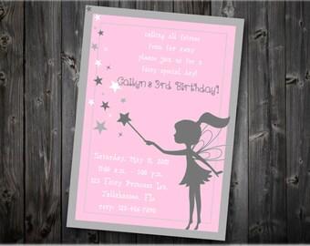 Fairy Birthday Invitation, Fairy Party Invitation, Girl Birthday Invitation