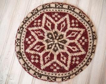 Fairisle Style Winter Tam in Wine Red and Brown Tweed