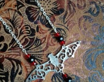 Filigree vampire bat necklace