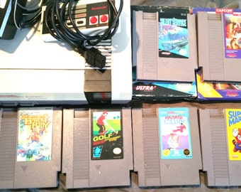 Vintage NES Nintendo Game System Console + 6 Games, Super Mario 3, Silent Service, Code Name Viper and more!
