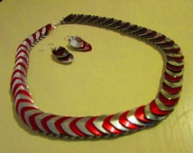 Silver and Red Scale-maille Necklace set