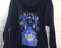 Star Wars Empire Strikes Back Unisex Adult Zip Black Hoodie Soft Cotton Size Small, medium, large , xl - Sent Recorded Delivery