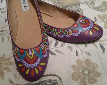 Hand Painted Purple Ballet Flats