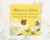personalized return address label - WHITE ROSE with BUTTERFLIES - square label - address sticker - set of 48