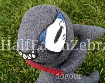 Blu the Creepy Critter, OOAK Blue Gray Monster Plushie Art Doll