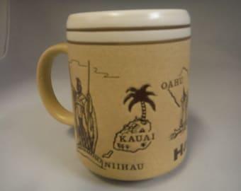 Vintage embossed Hawaiian mug- 1970's-collectible-coffee mug