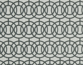 BEACON HILL CROSBY Iconic Embroidered  Geometric Linen Fabric 5 Yards Titanium