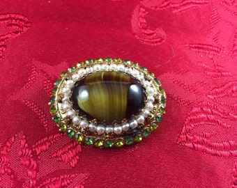 Faux Tigers Eye Brooch