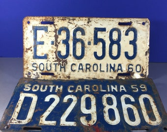 South Carolina License Plates 2pc /1959 and 1960