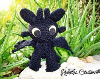 Pdf Crochet Pattern- Toothless Dragon Night Fury- amigurumi/ toy pattern