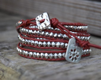 "Five Wrap Beaded Bracelet with Silver Button and ""Handmade"" Charm"